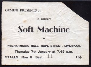 Soft Machine 1971 concert ticket